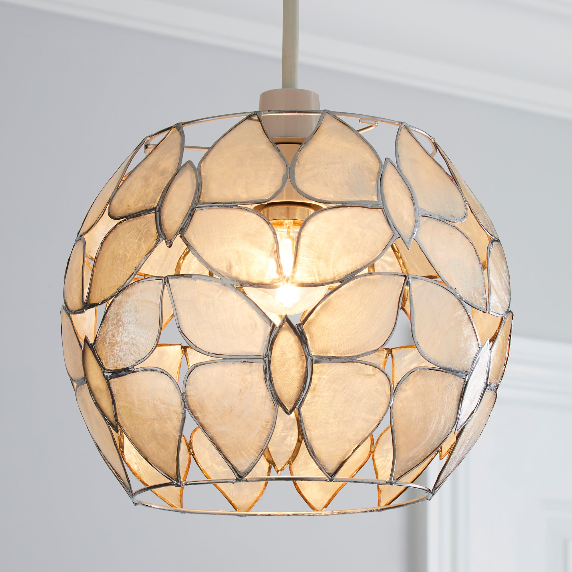 Photo of Butterfly capiz shade pendant taupe