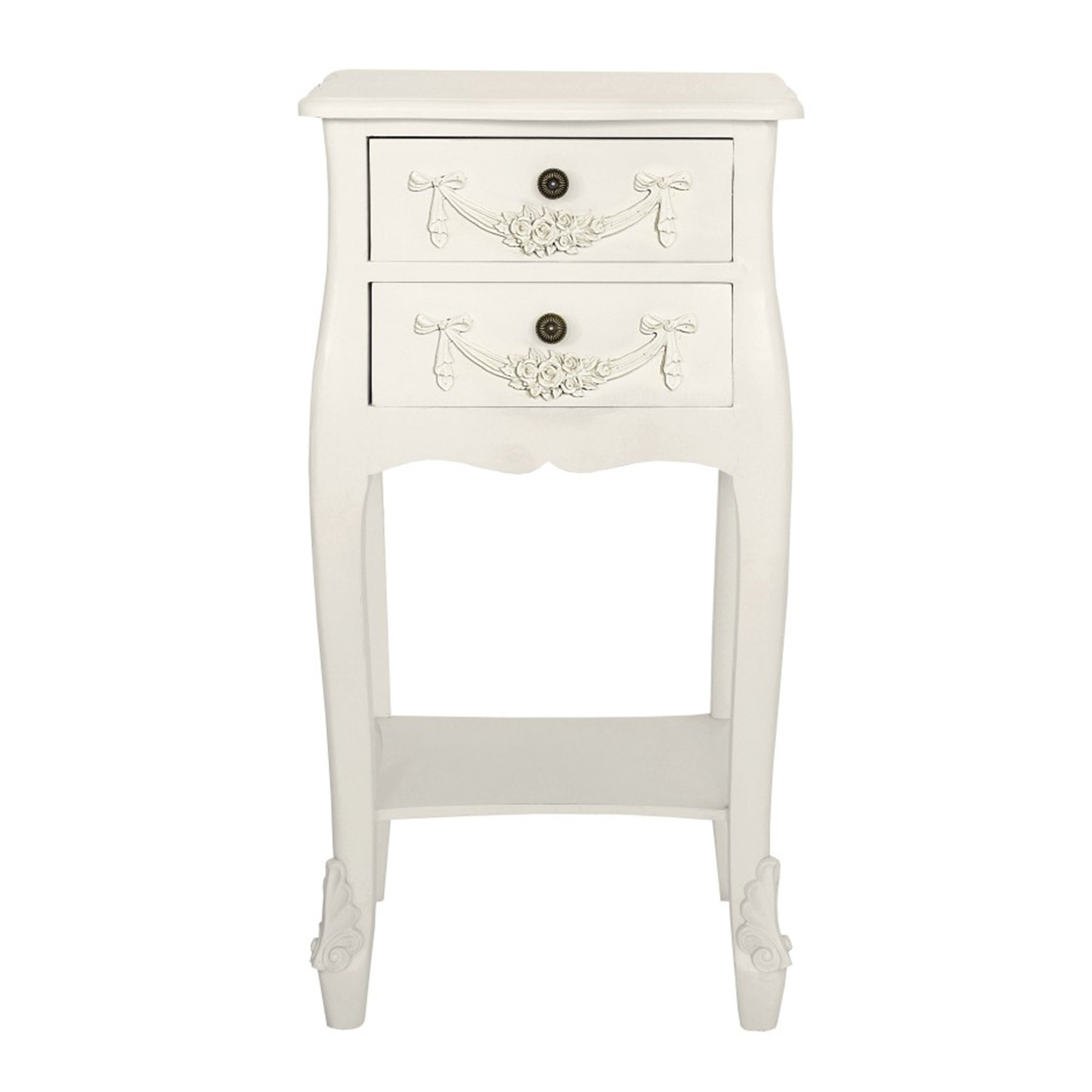 Photo of Toulouse white 2 drawer bedside table white