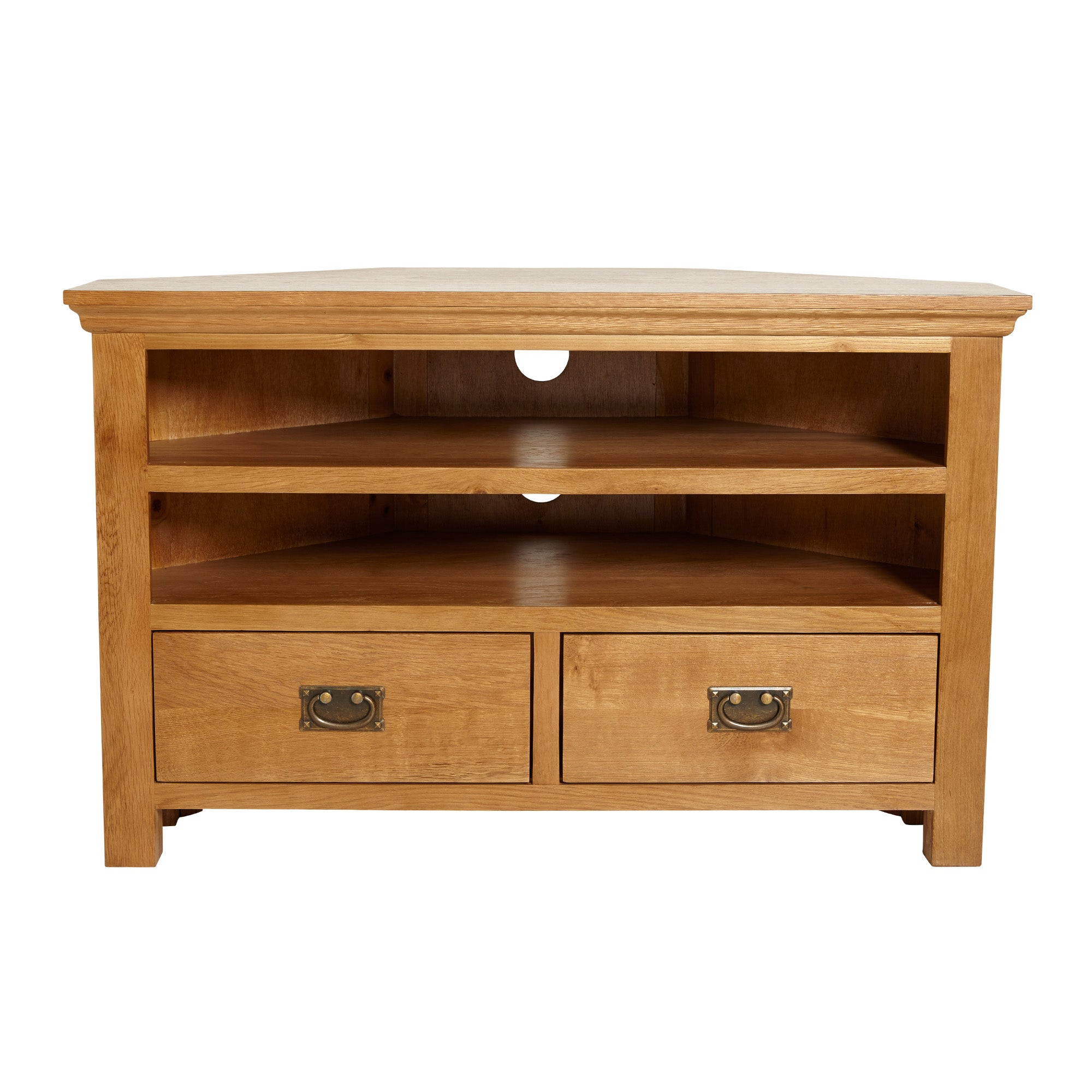 Dorchester Oak Corner TV Stand Light Brown  Natural