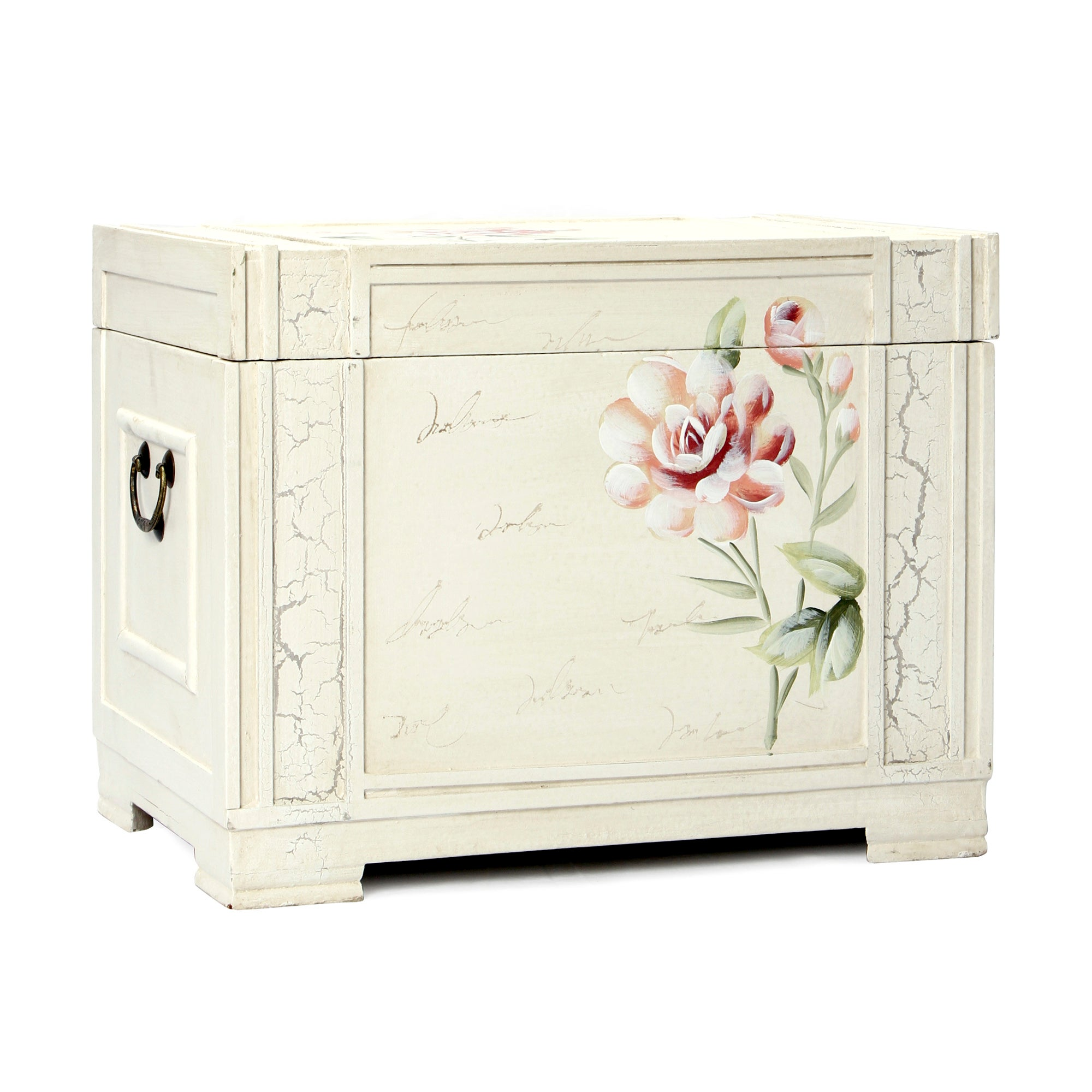 Photo of French rose hand painted storage chest cream