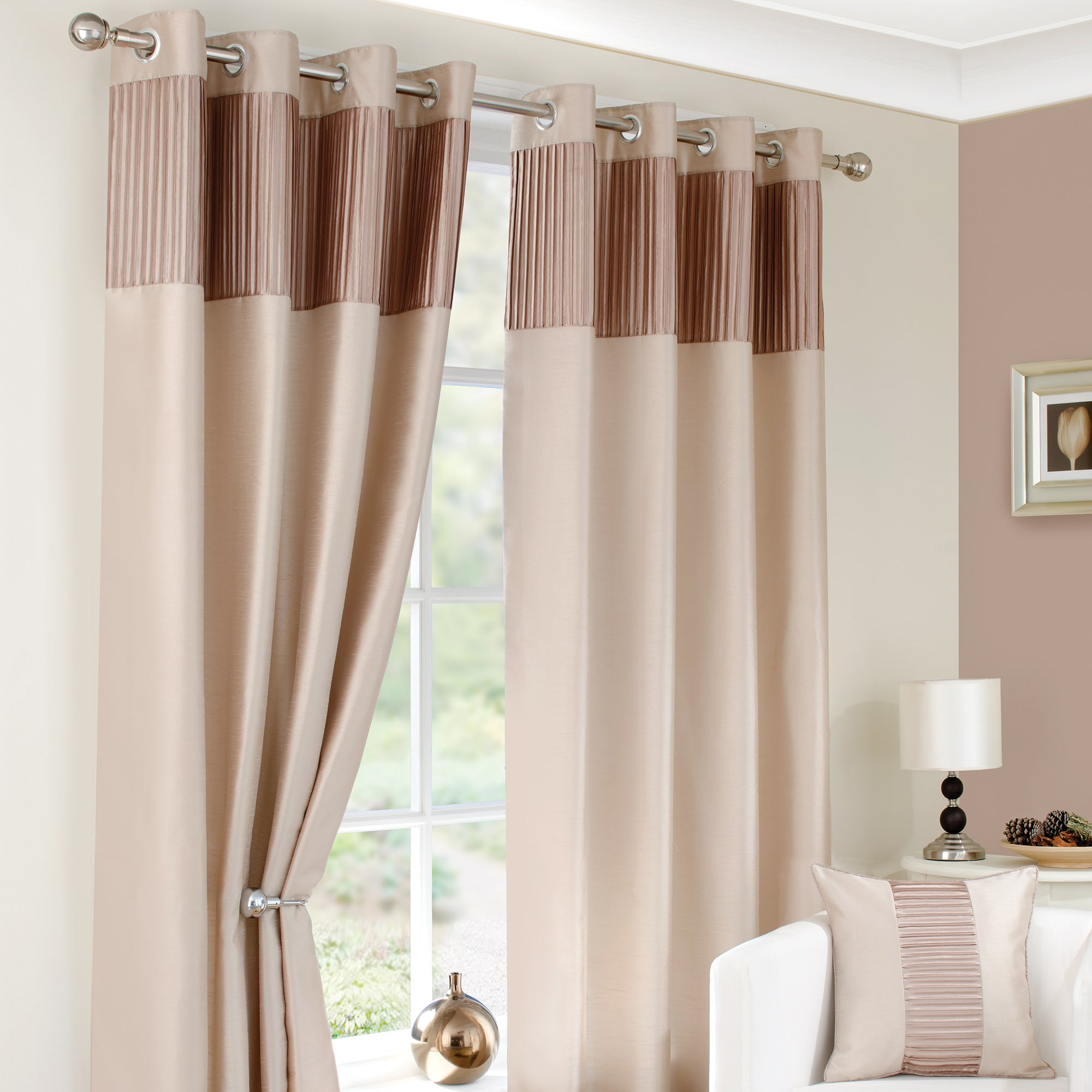 Photo of Montreal taupe lined eyelet curtains taupe