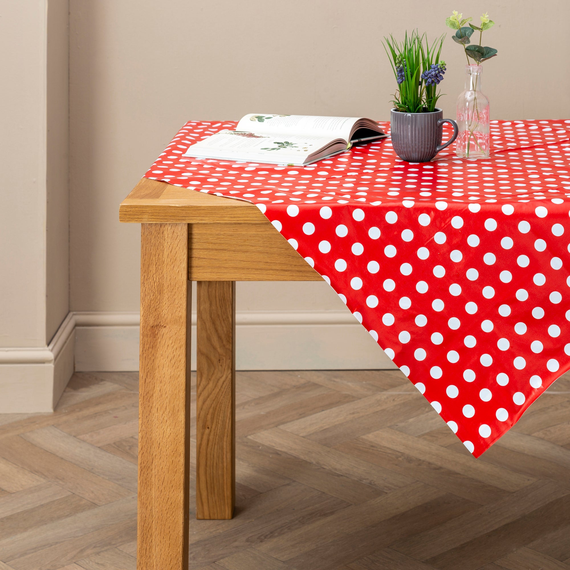 Photo of Dotty rectangle pvc tablecloth red