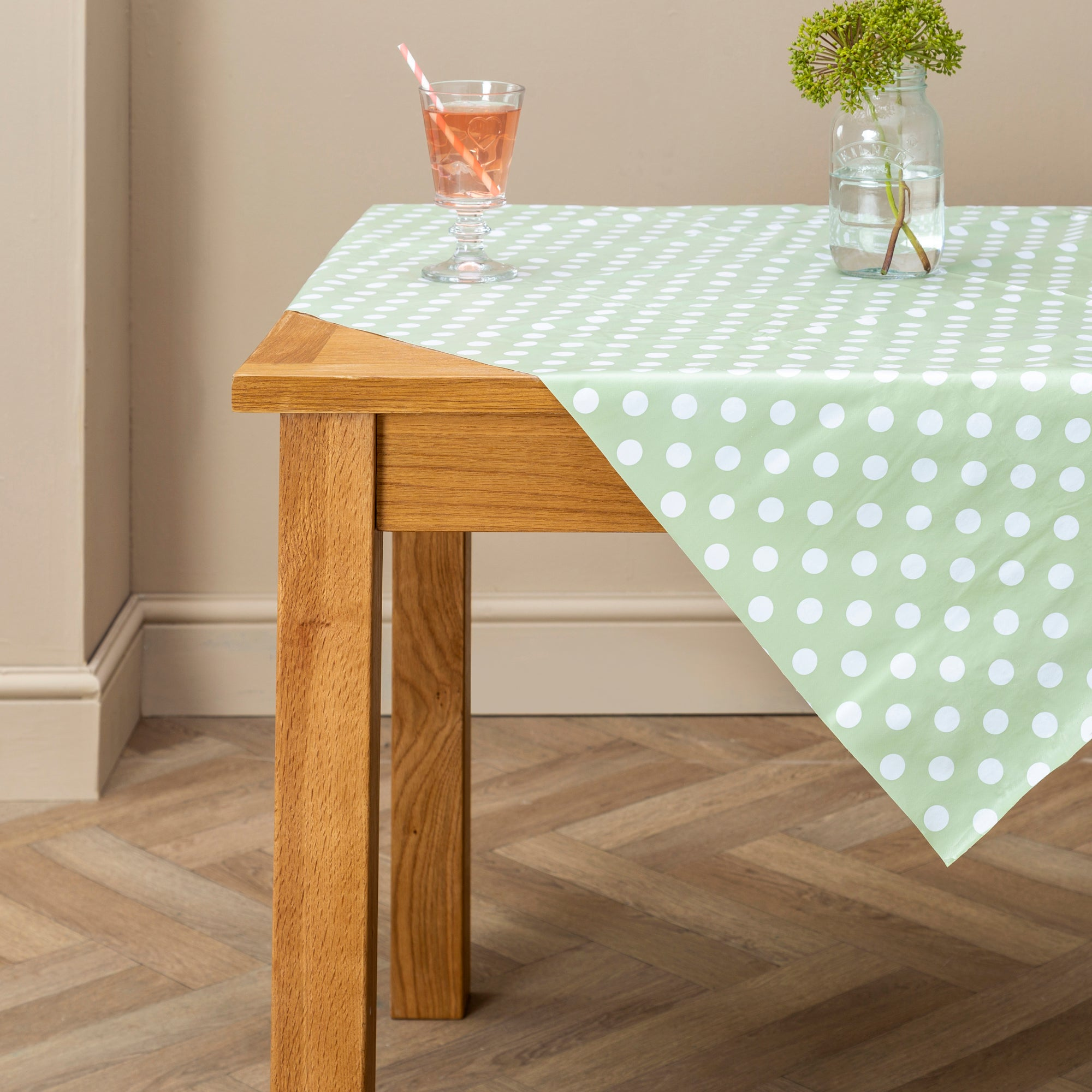 Photo of Dotty rectangle pvc tablecloth green / sage green
