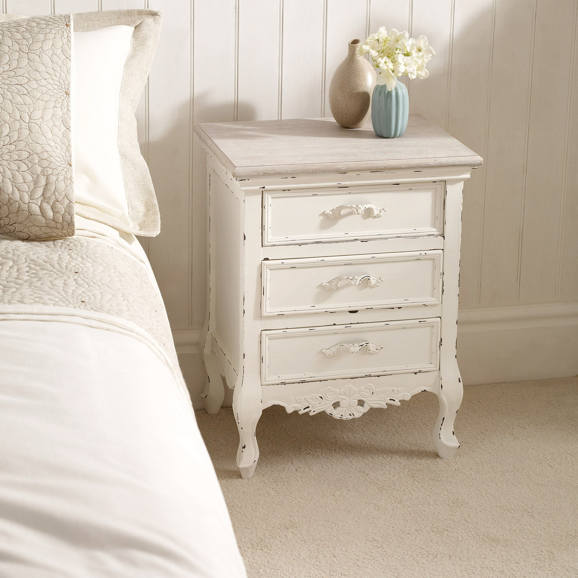 Photo of Camille ivory 3 drawer bedside table cream