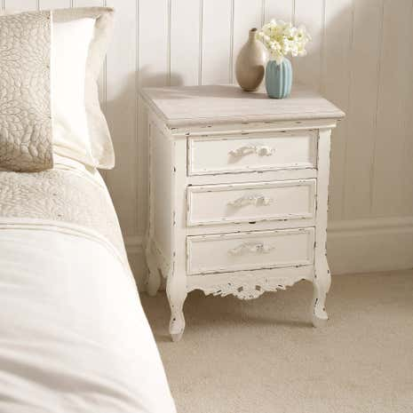 Camille Ivory 3 Drawer Bedside Table