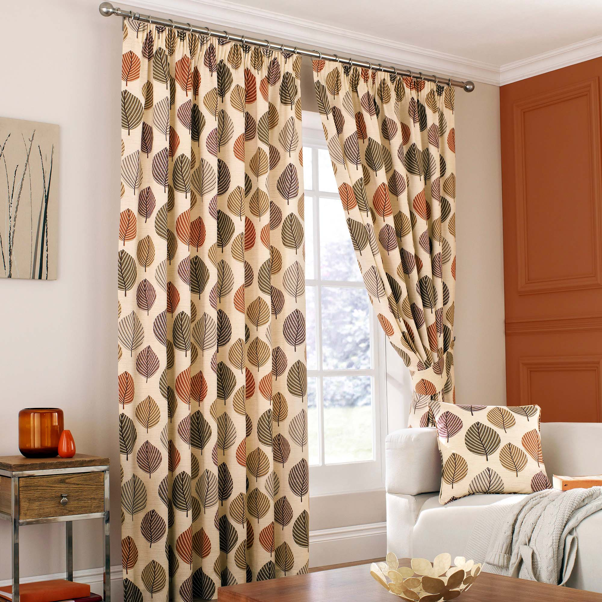 Photo of Regan terracotta lined pencil pleat curtains terracotta