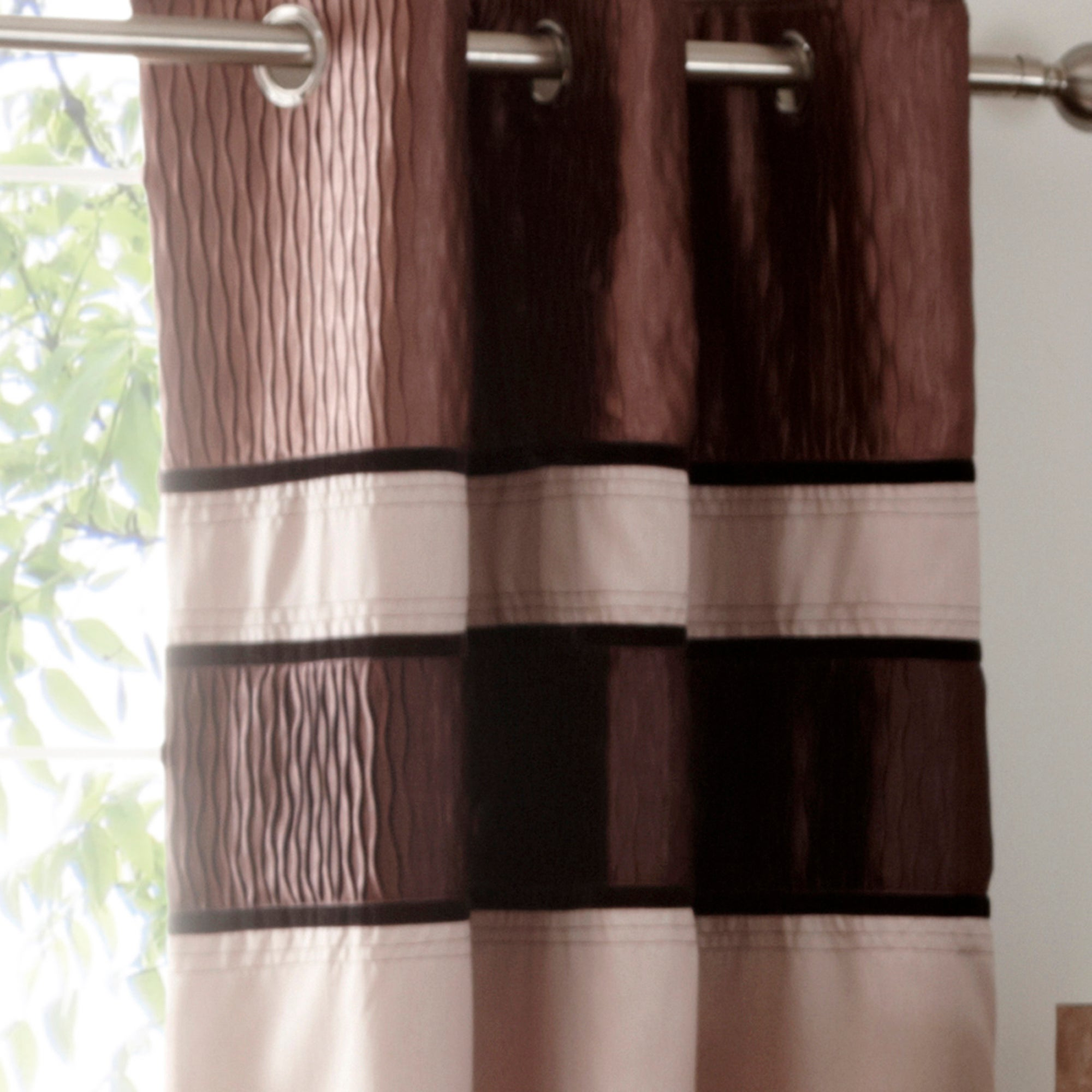 Photo of Manhattan mocha lined eyelet curtains brown / mocha