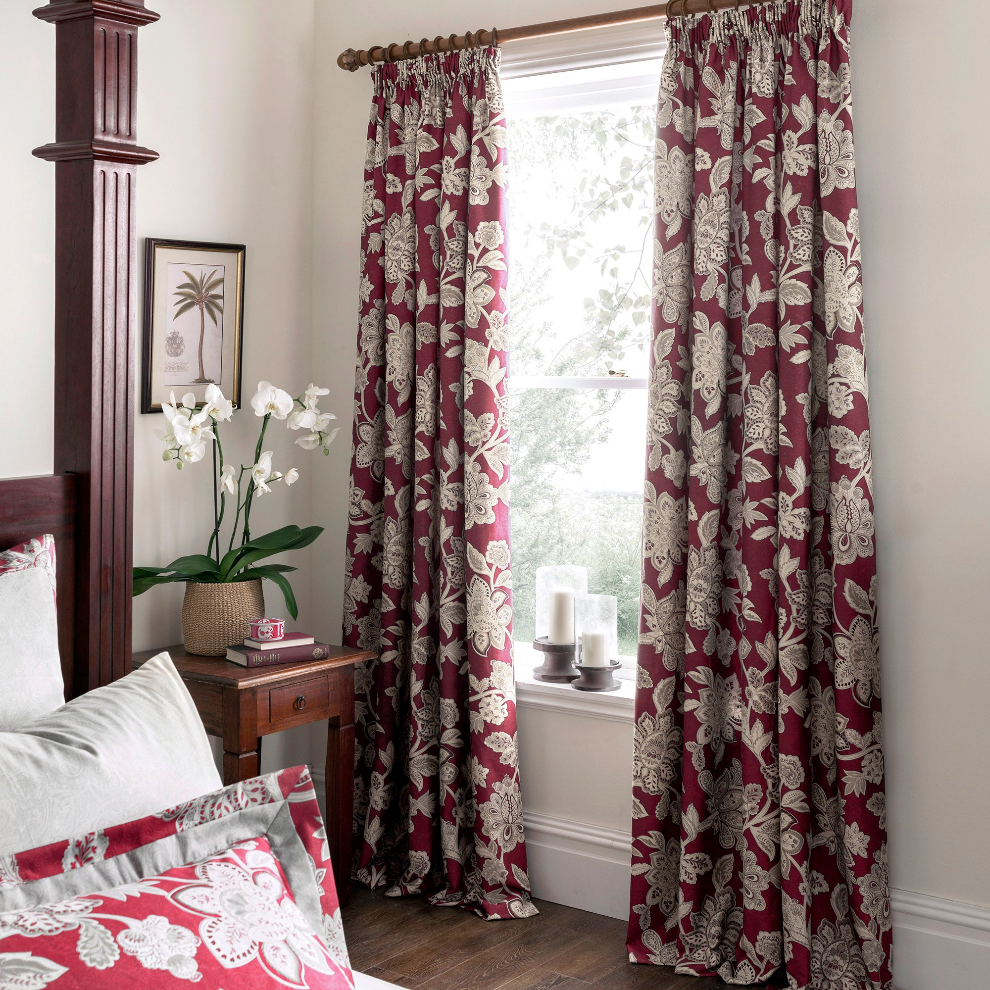 Photo of Dorma samira red lined pencil pleat curtains red