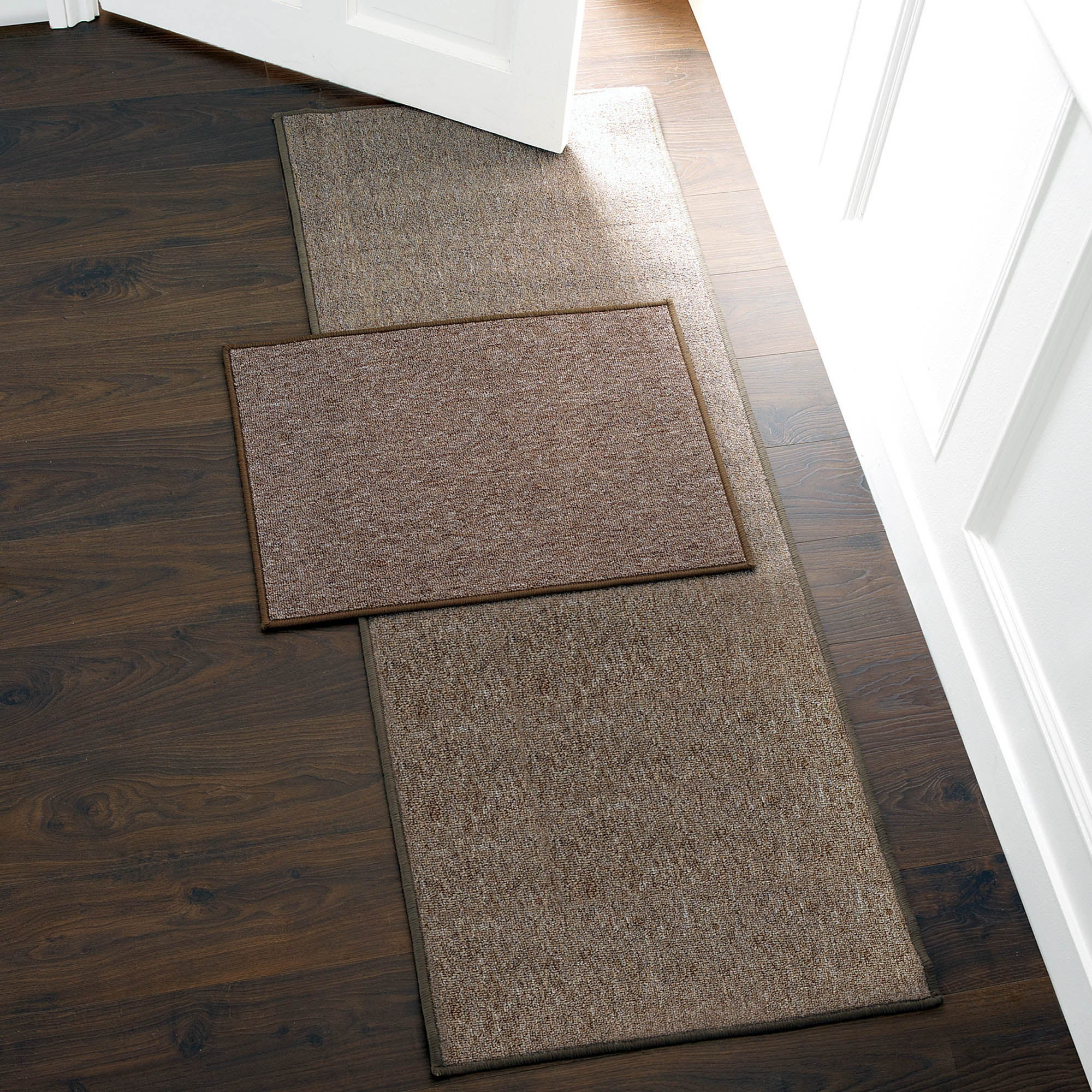 Photo of Plain biscuit washable runner mocha brown