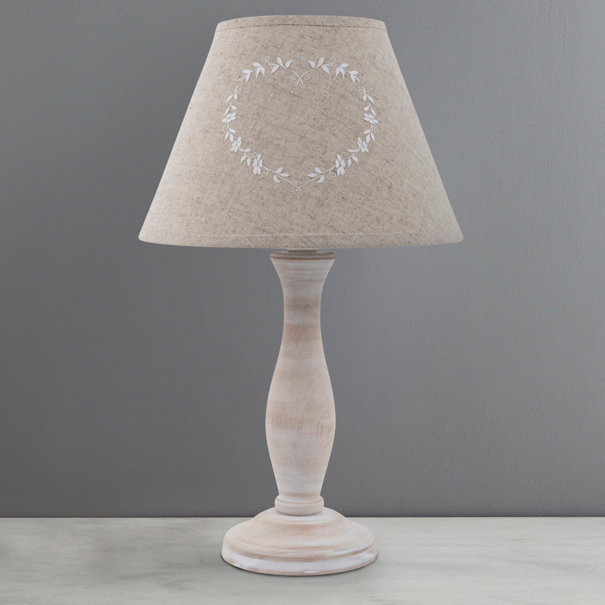 Photo of Charlbury linen table lamp light brown / natural