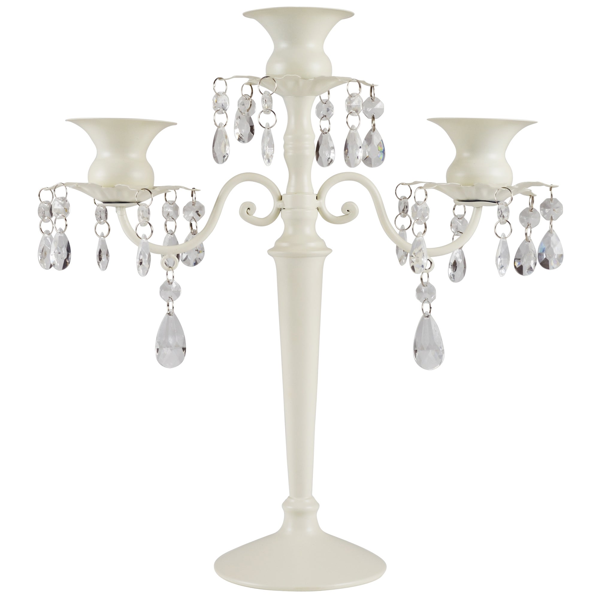 Image of 3 Arm Jewelled Candelabra Cream