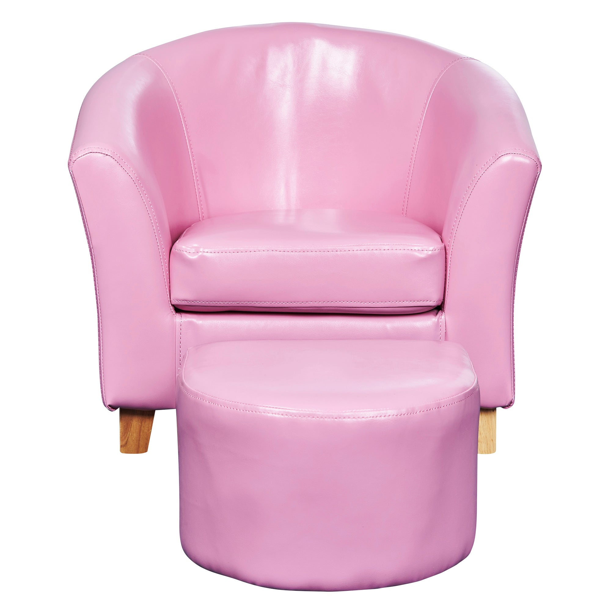 Kids Pink Faux Leather Tub Chair and Stool Pink
