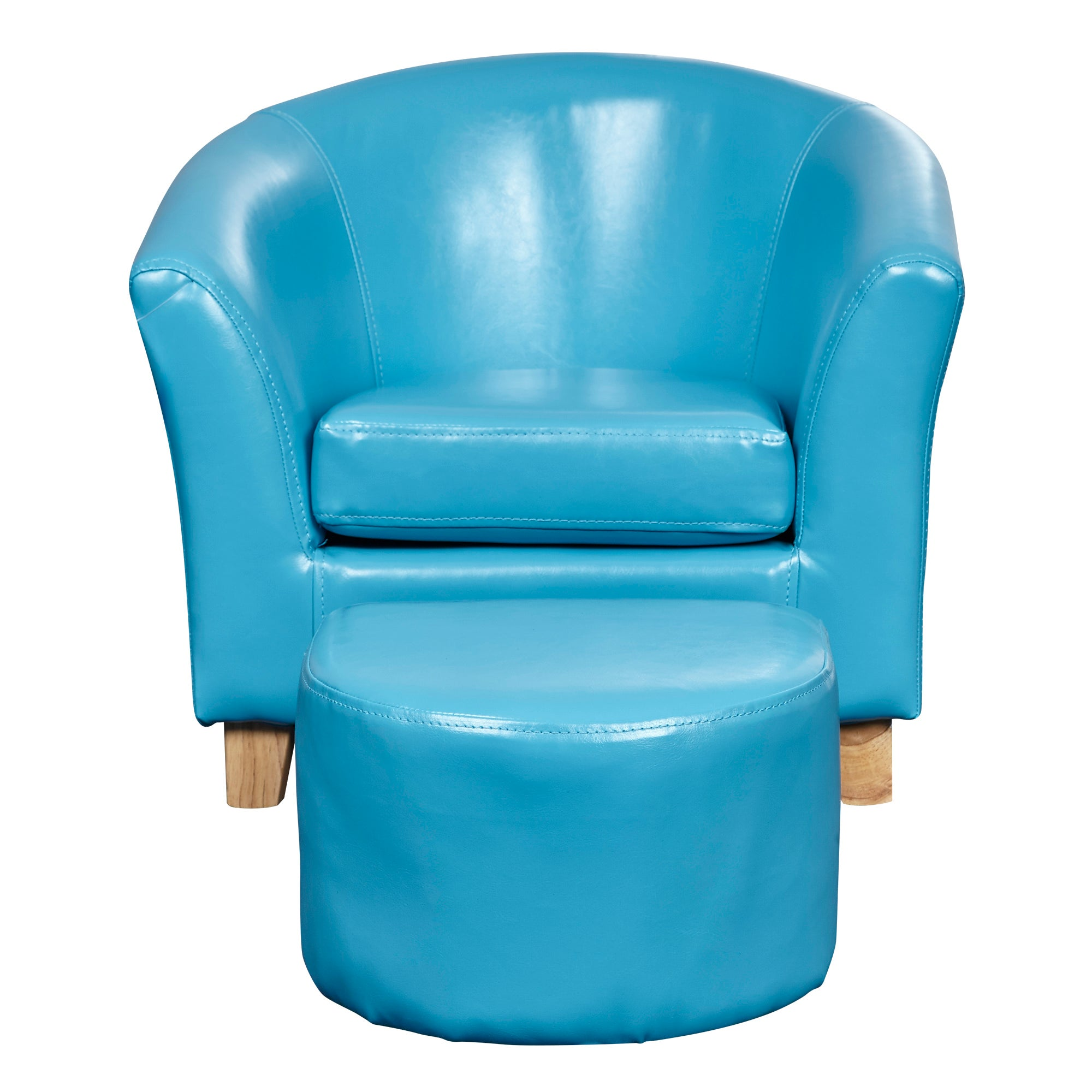 Kids Blue Faux Leather Tub Chair and Stool Blue