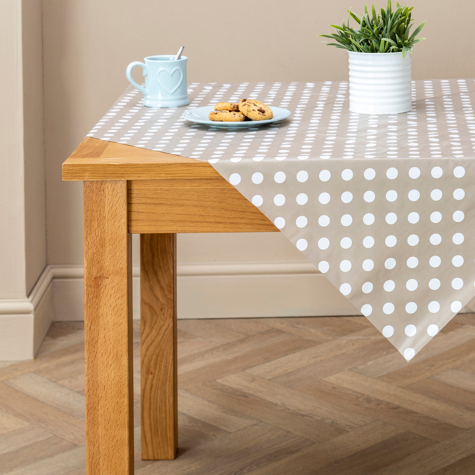 Photo of Taupe dotty pvc tablecloth taupe
