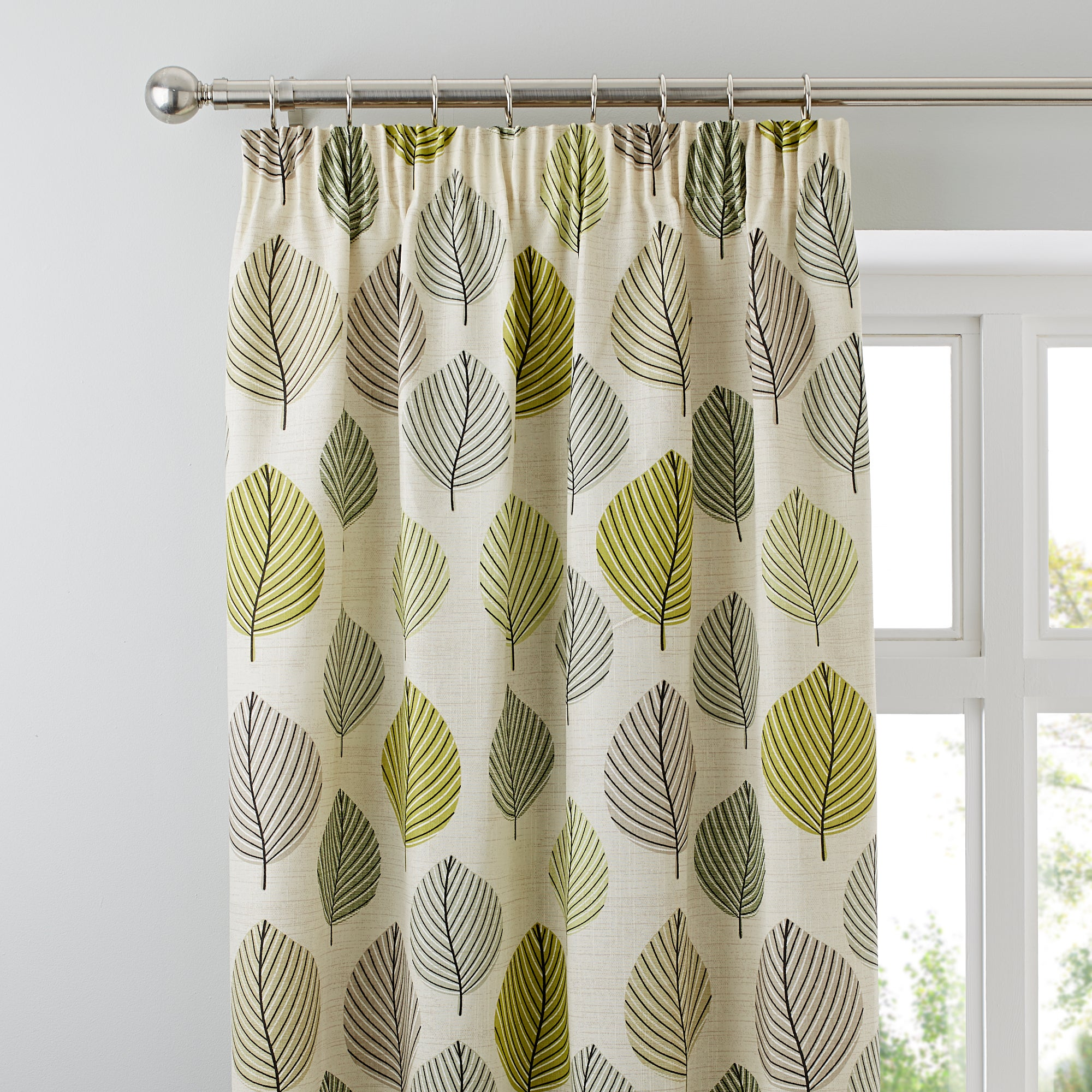 Photo of Regan green lined pencil pleat curtains green
