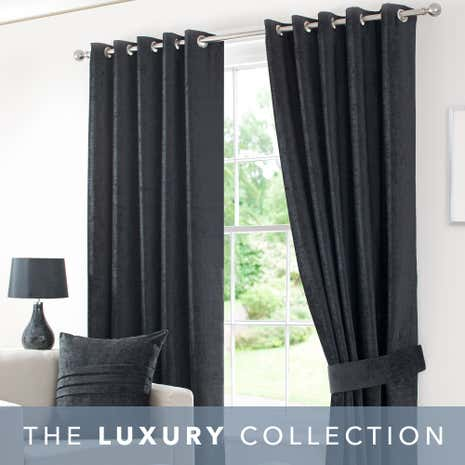 Chenille Black Lined Eyelet Curtains | Dunelm