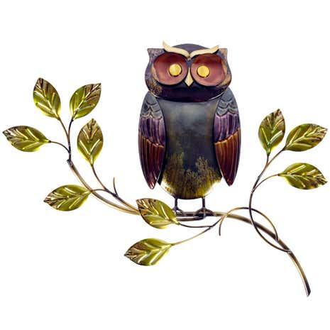 Owl On Branch Metal Wall Art Part 55