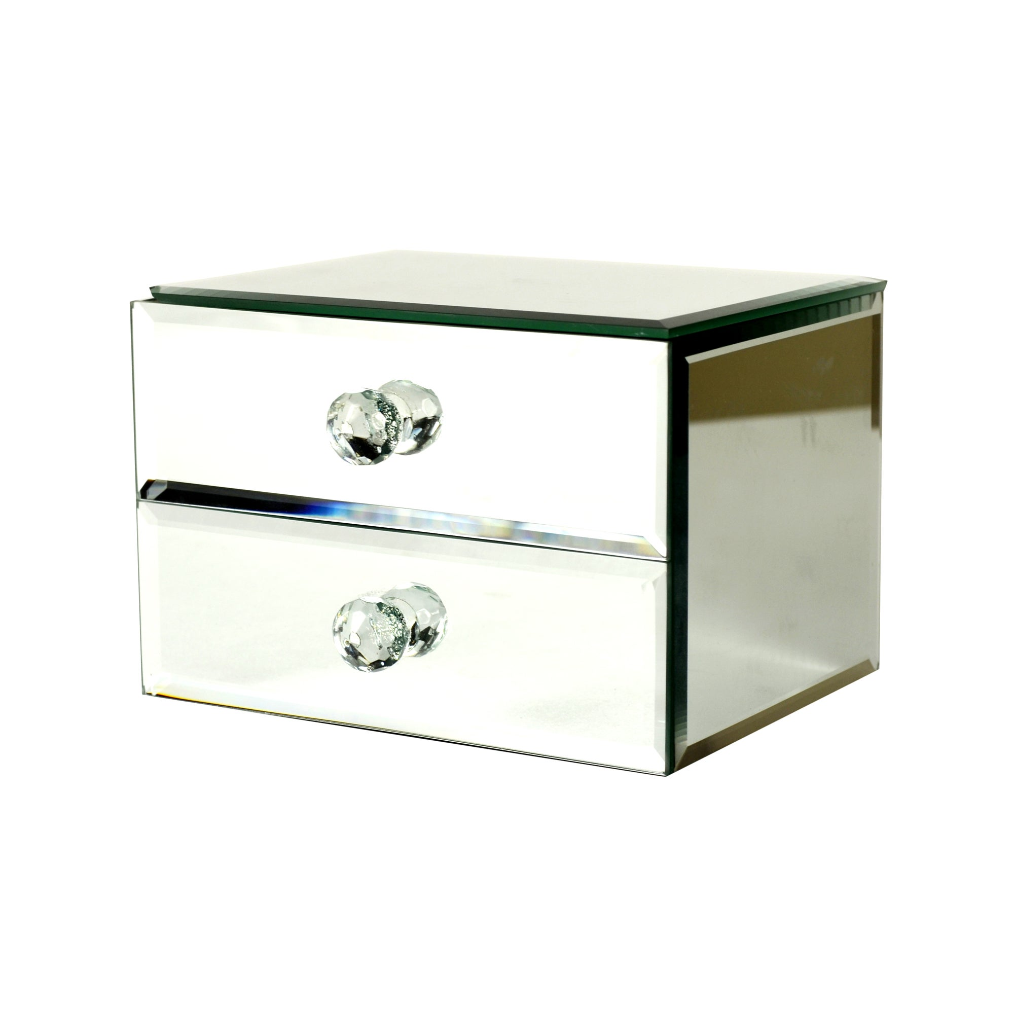 Blue Deco Mirrored Jewellery Box Clear