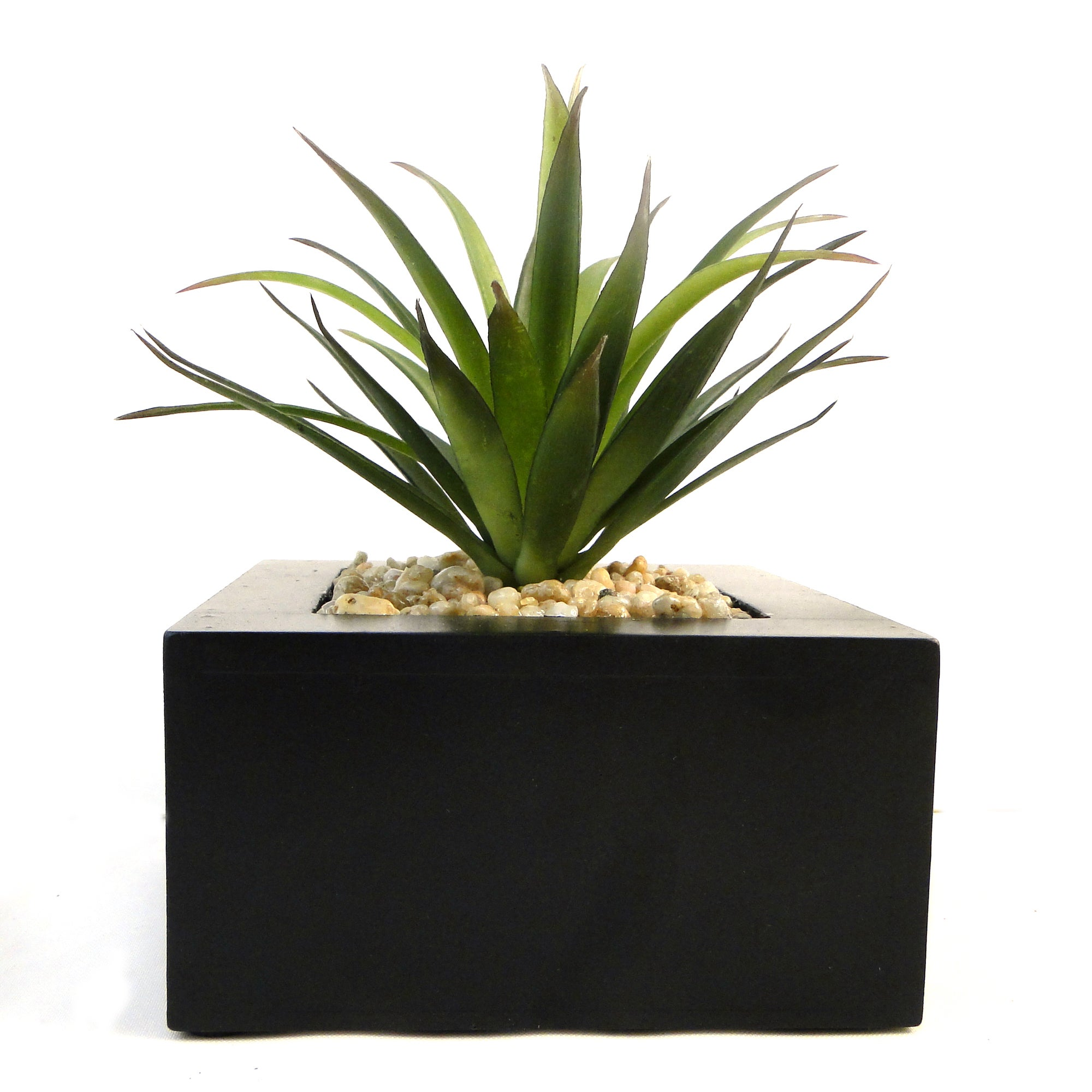 Image of Artificial Green Plant in Wood Pot Green