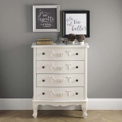 Toulouse White Wide Drawer Chest Dunelm - Toulouse bedroom furniture white