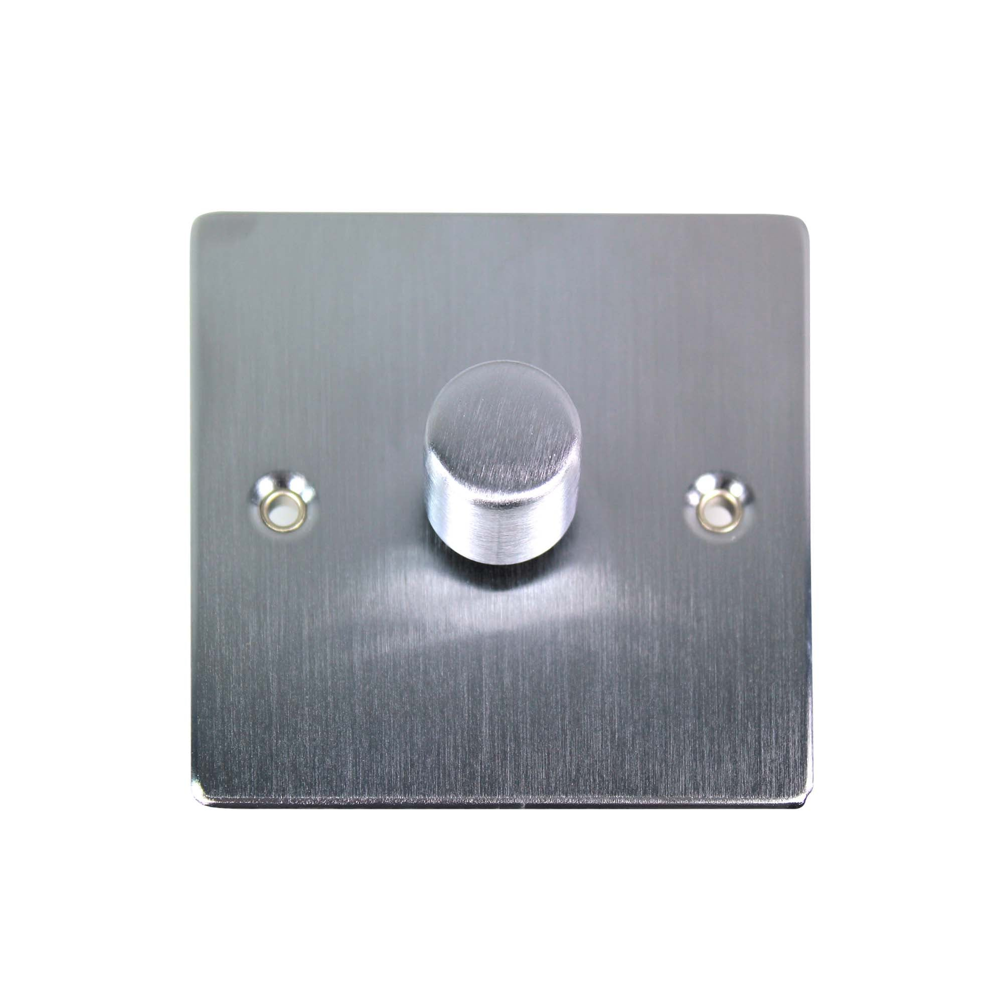 Image of 1 Gang 2 Way Brushed Chrome Dimmer Switch Matt Silver