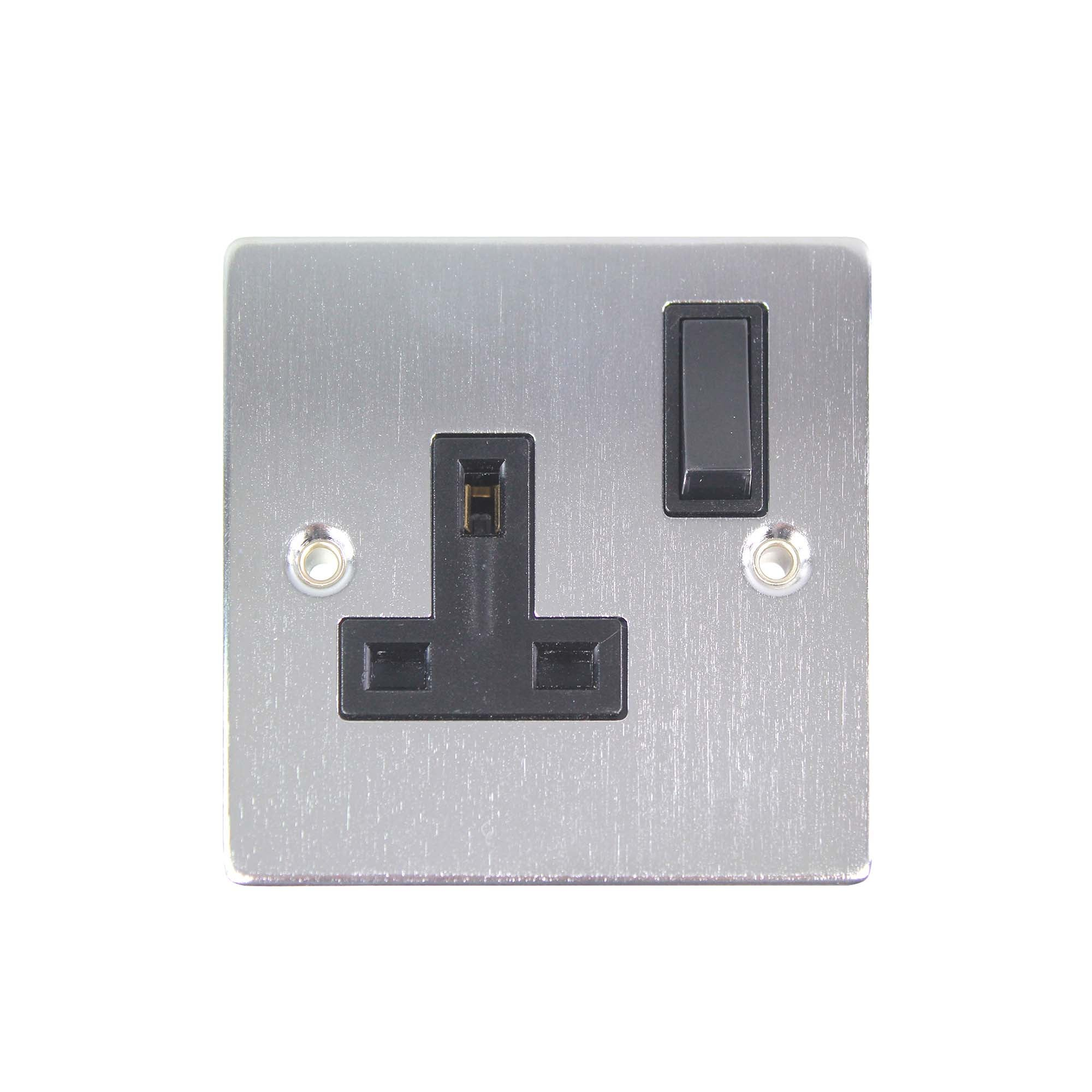 Image of 1 Gang Switch Brushed Chrome Socket Matt Silver