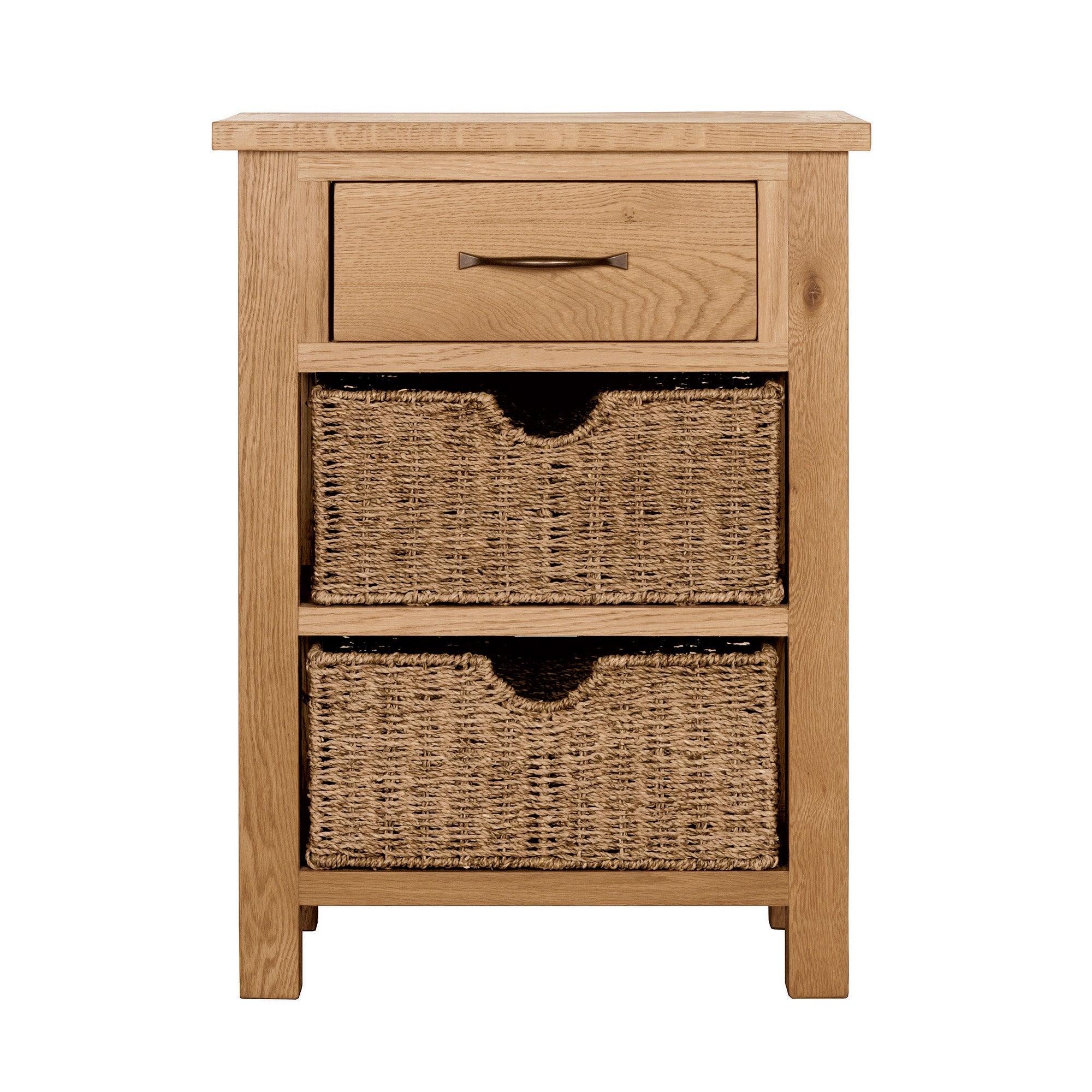 Photo of Sidmouth oak telephone table with baskets light brown / natural