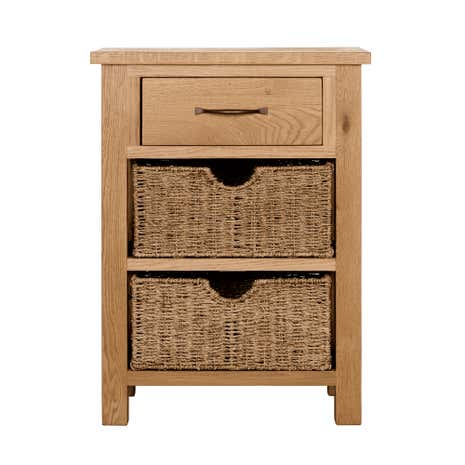 Telephone Table sidmouth oak telephone table with baskets | dunelm