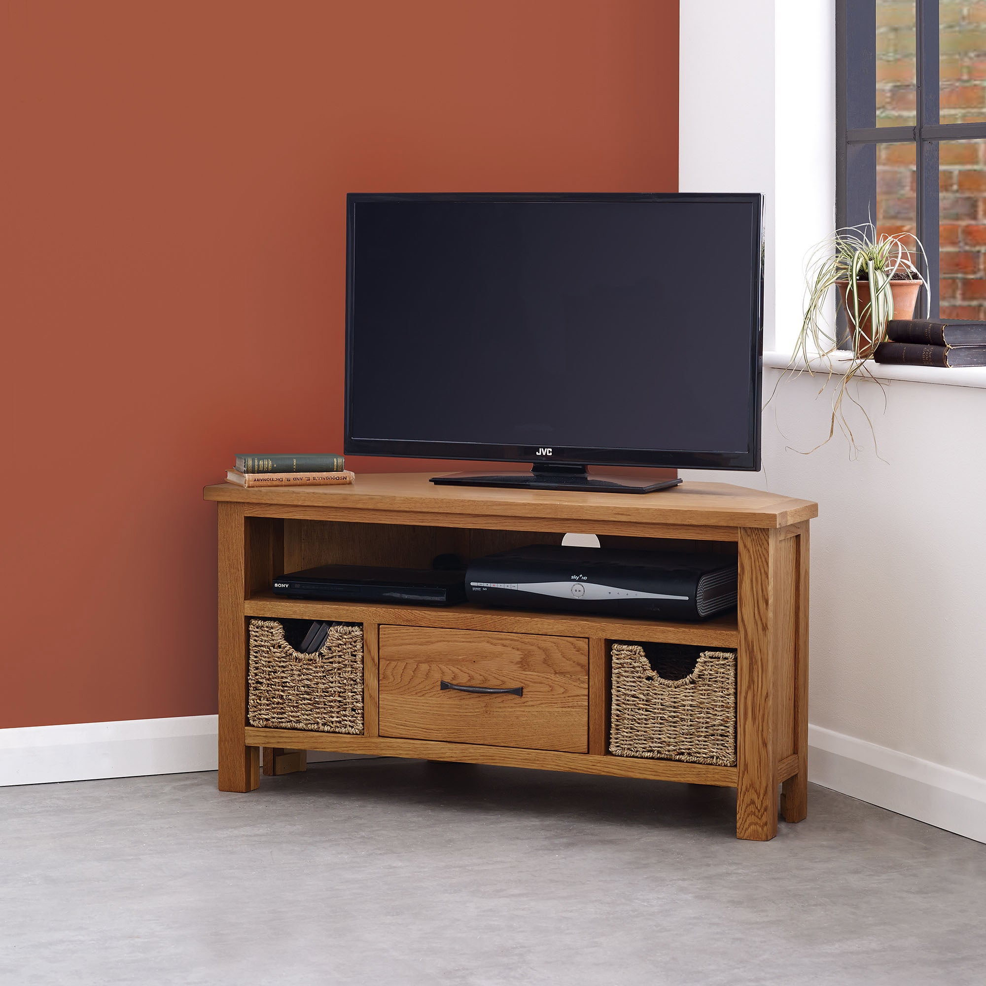 Sidmouth Oak Corner TV Stand Light Brown  Natural