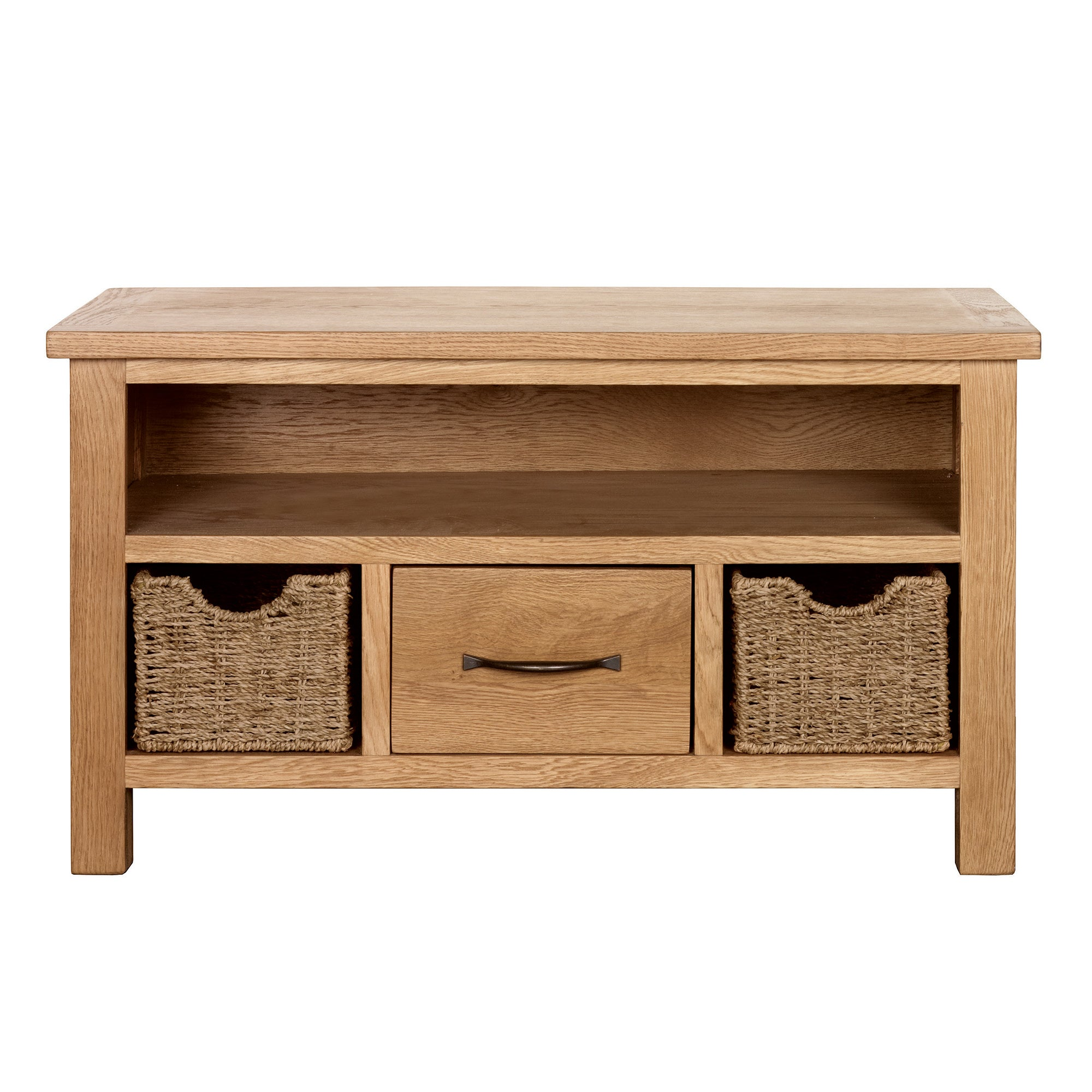 Sidmouth Oak TV Stand With Baskets Light Brown  Natural