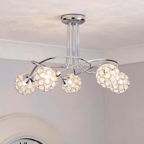 Sphere 5 light chrome ceiling fitting dunelm aloadofball Gallery