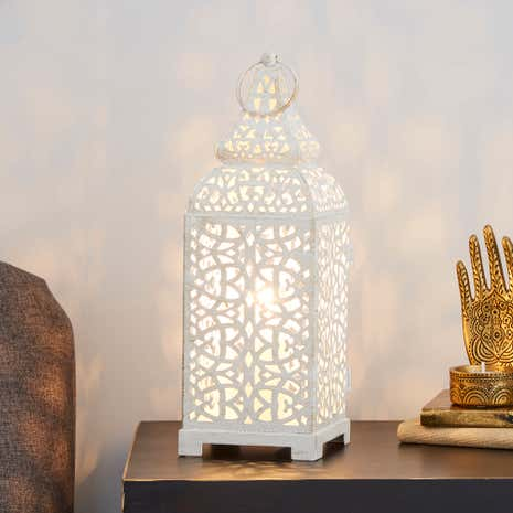 Moroccan lantern table lamp dunelm moroccan lantern table lamp aloadofball Image collections