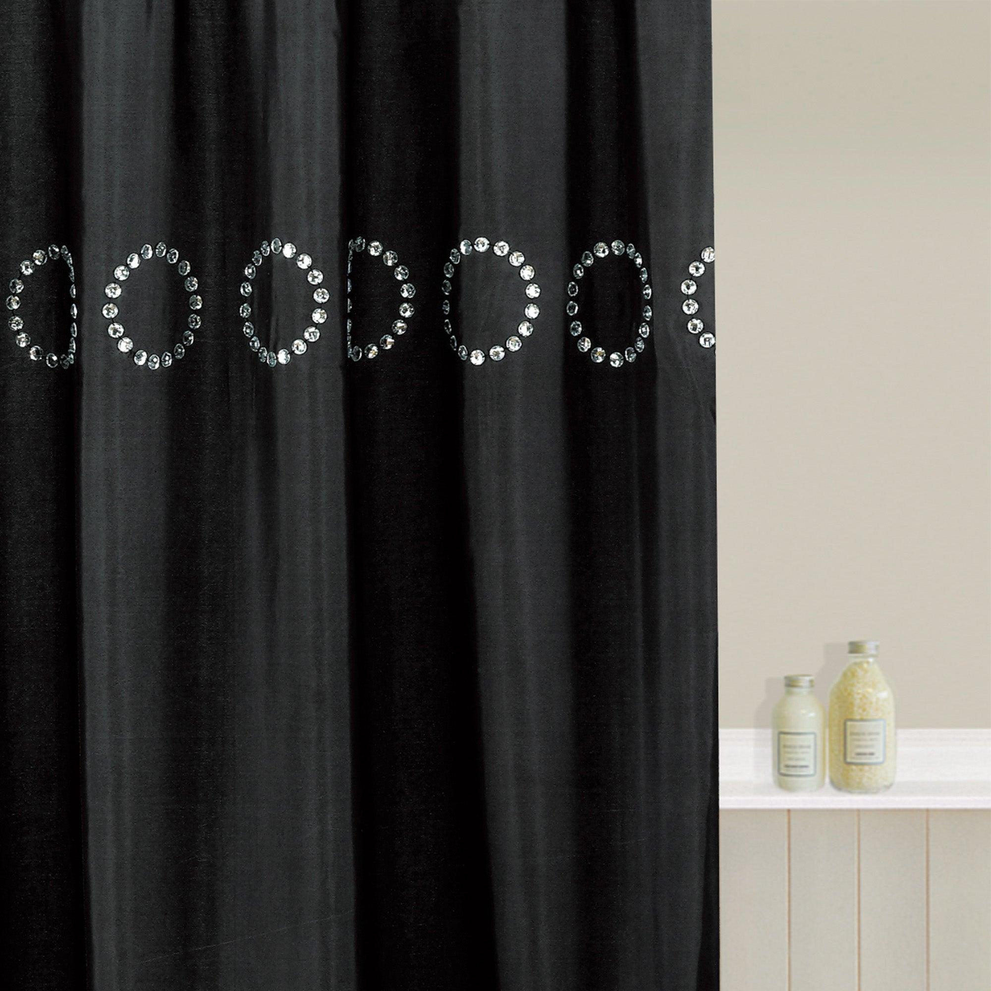 image of black sequin large shower curtain black