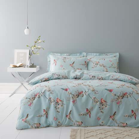 Beautiful Birds Duck Egg Duvet Cover And Pillowcase Set