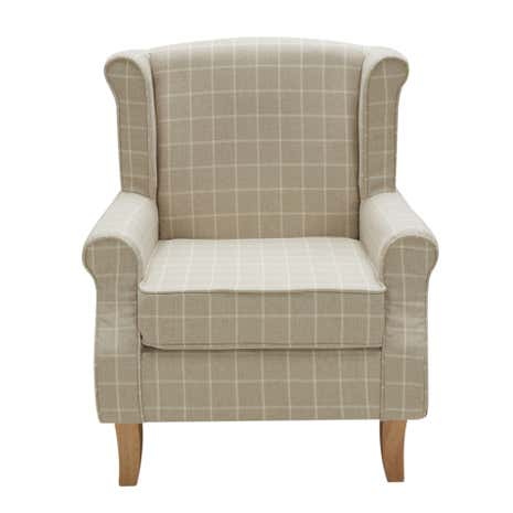 Natural Check Edinburgh Wingback Chair Dunelm