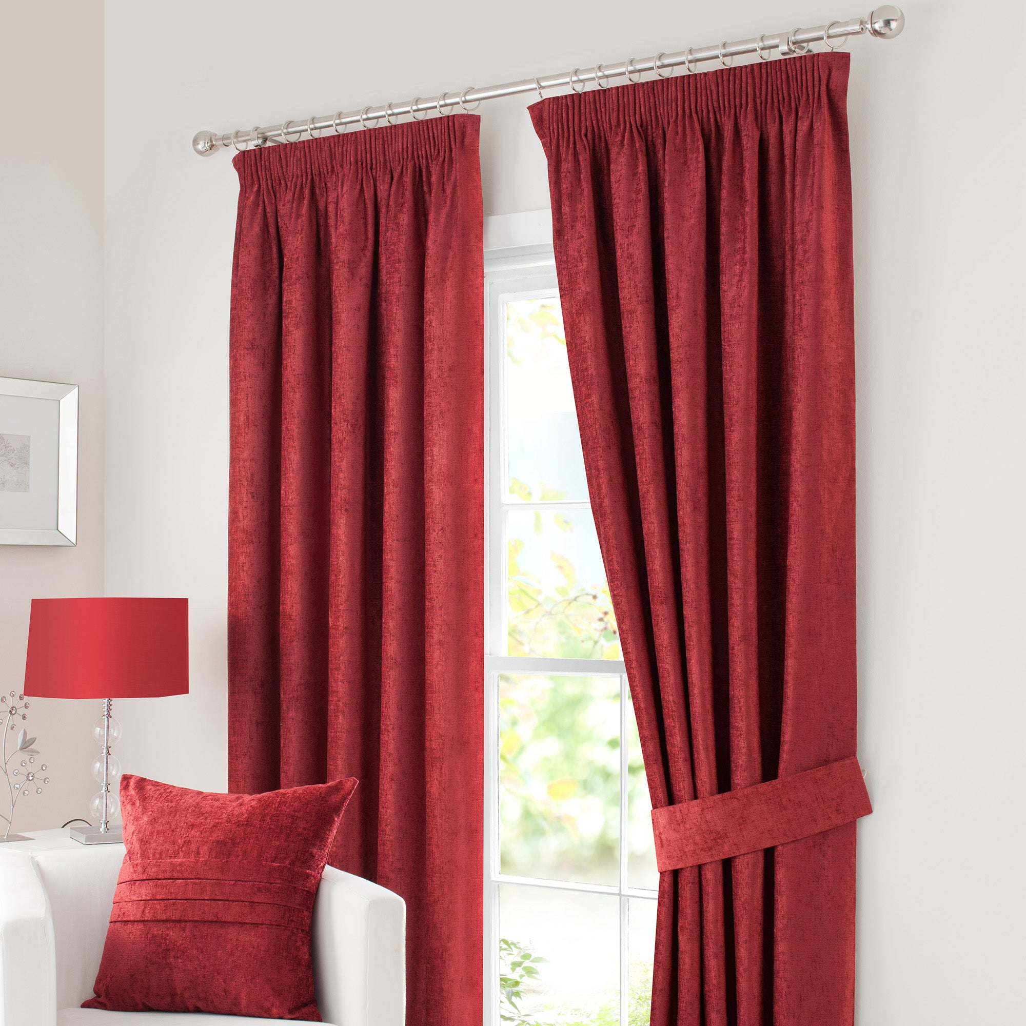 Photo of Chenille red lined pencil pleat curtains 168cm x 137cm red