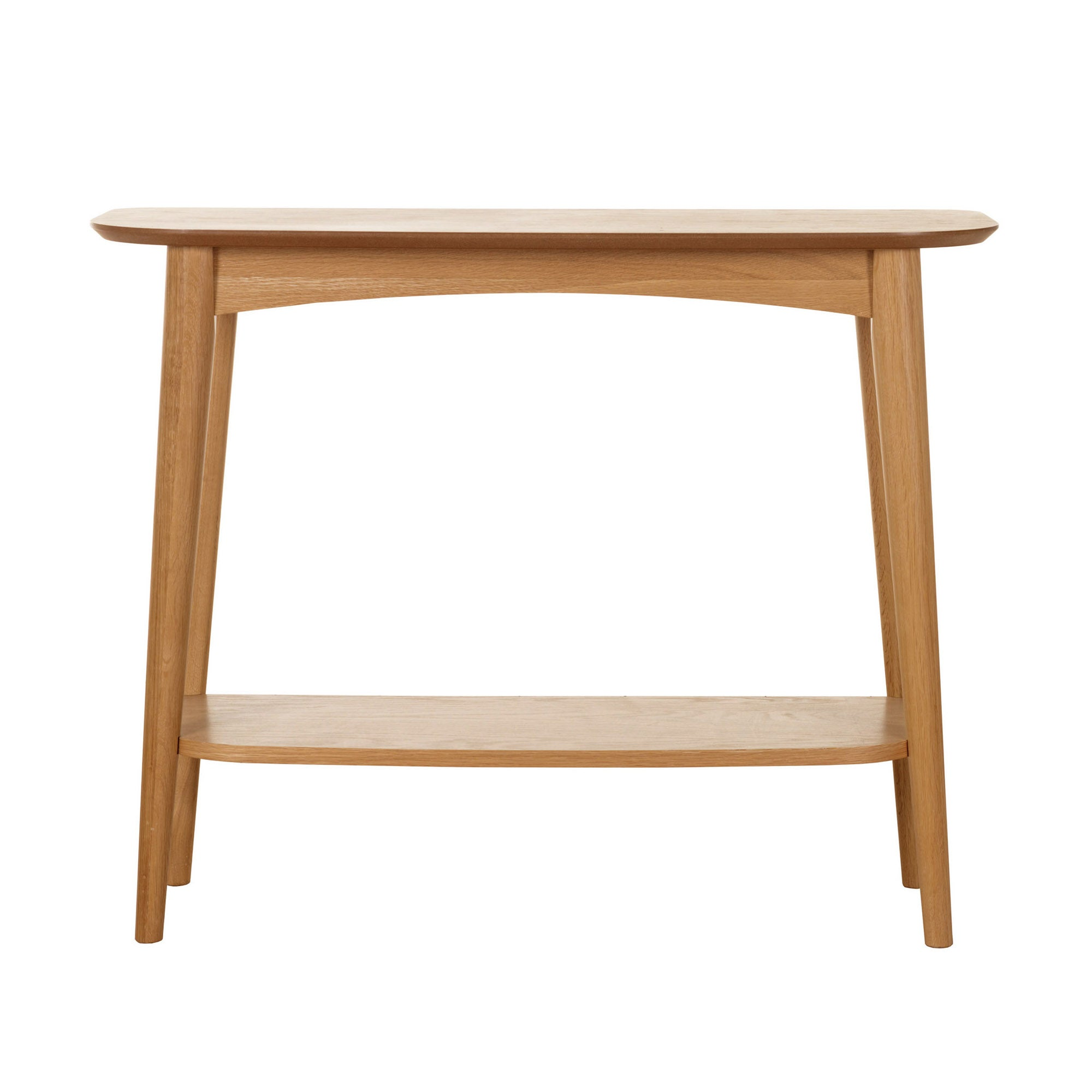 Skandi Oak Console Table with Shelf Light Brown  Natural