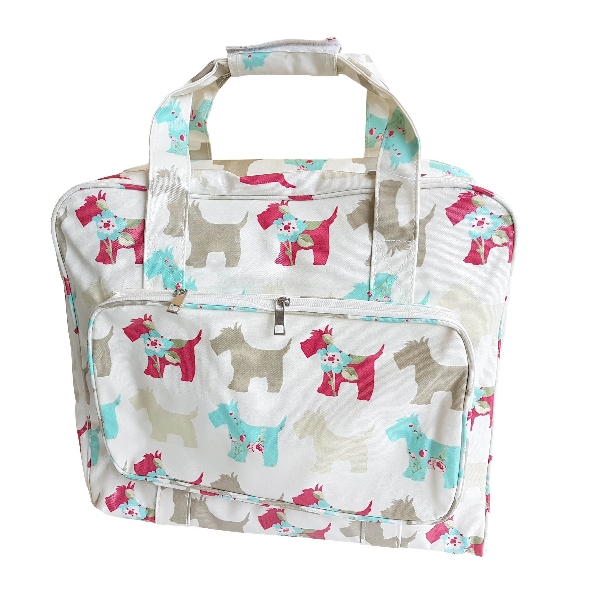 Scotty Dog PVC Sewing Machine Bag White  Pink  Cream
