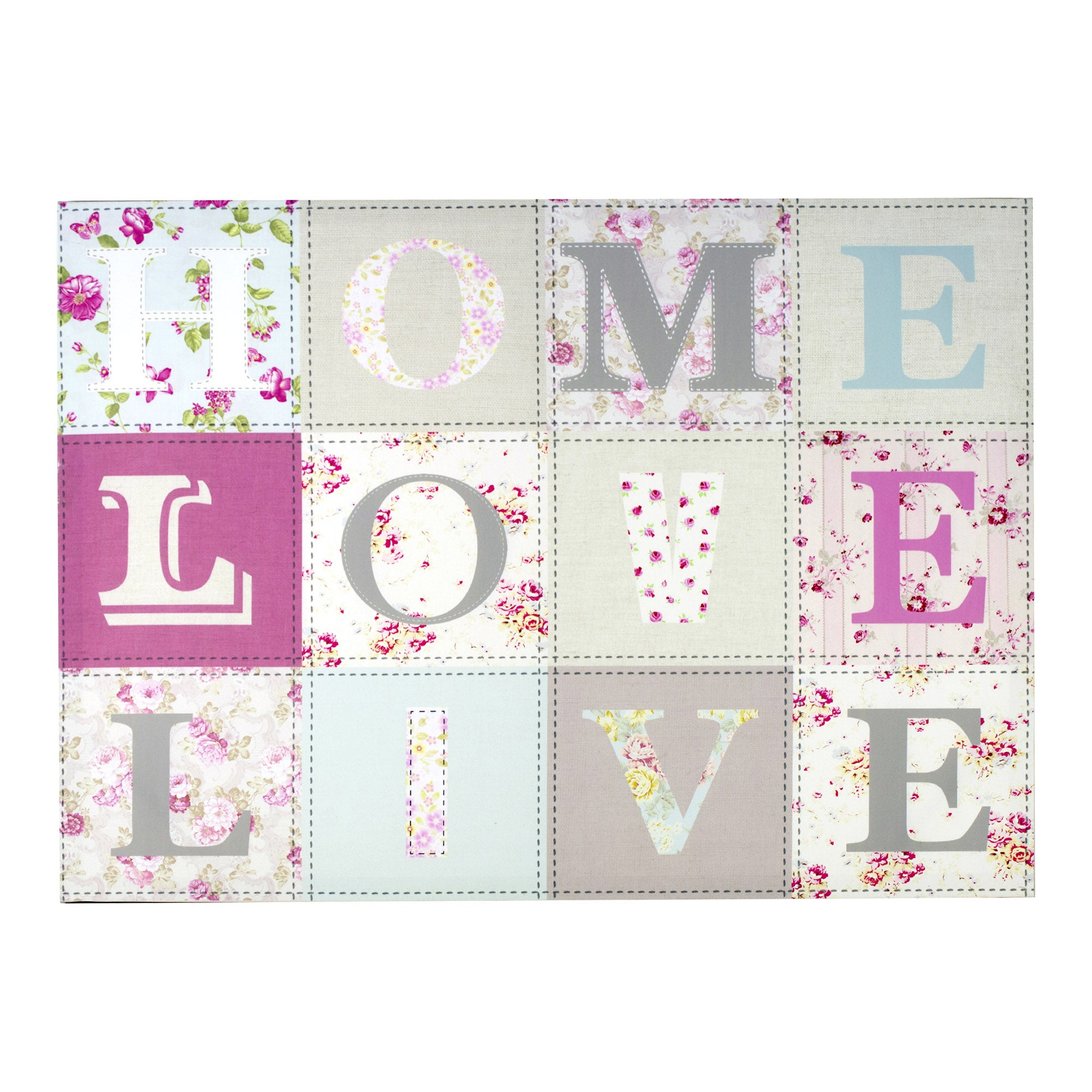Home Love Live Printed Canvas Pink