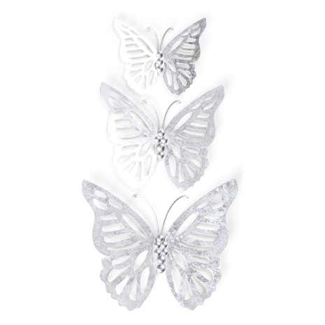 Bon Homeware · Decor · Wall Art. Set Of 3 Silver Metal Butterflies