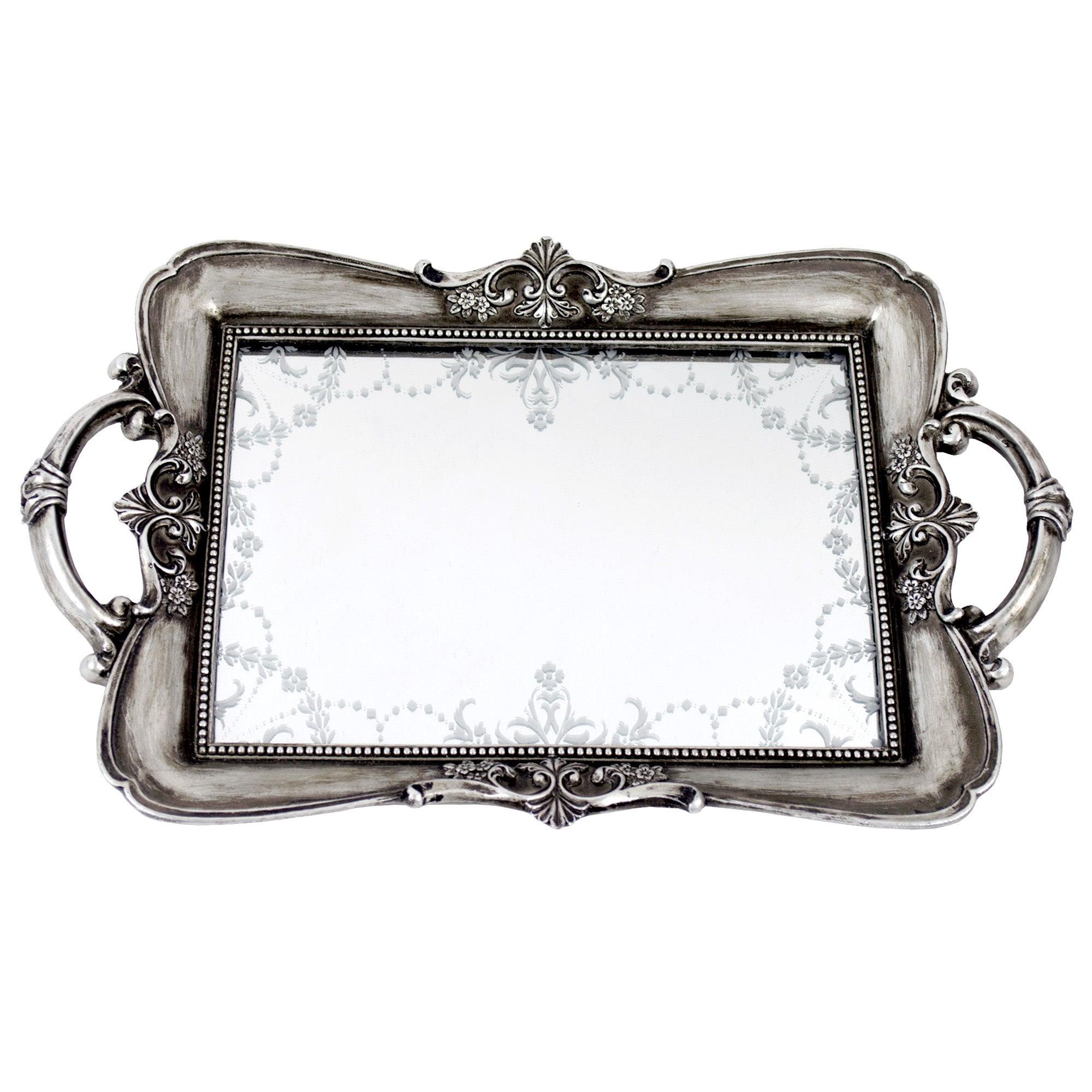 Maison Chic Venetian Mirror Tray Silver