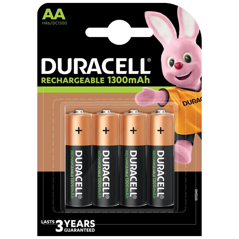 Duracell Pack of 4 AA Rechargeable Batteries Black
