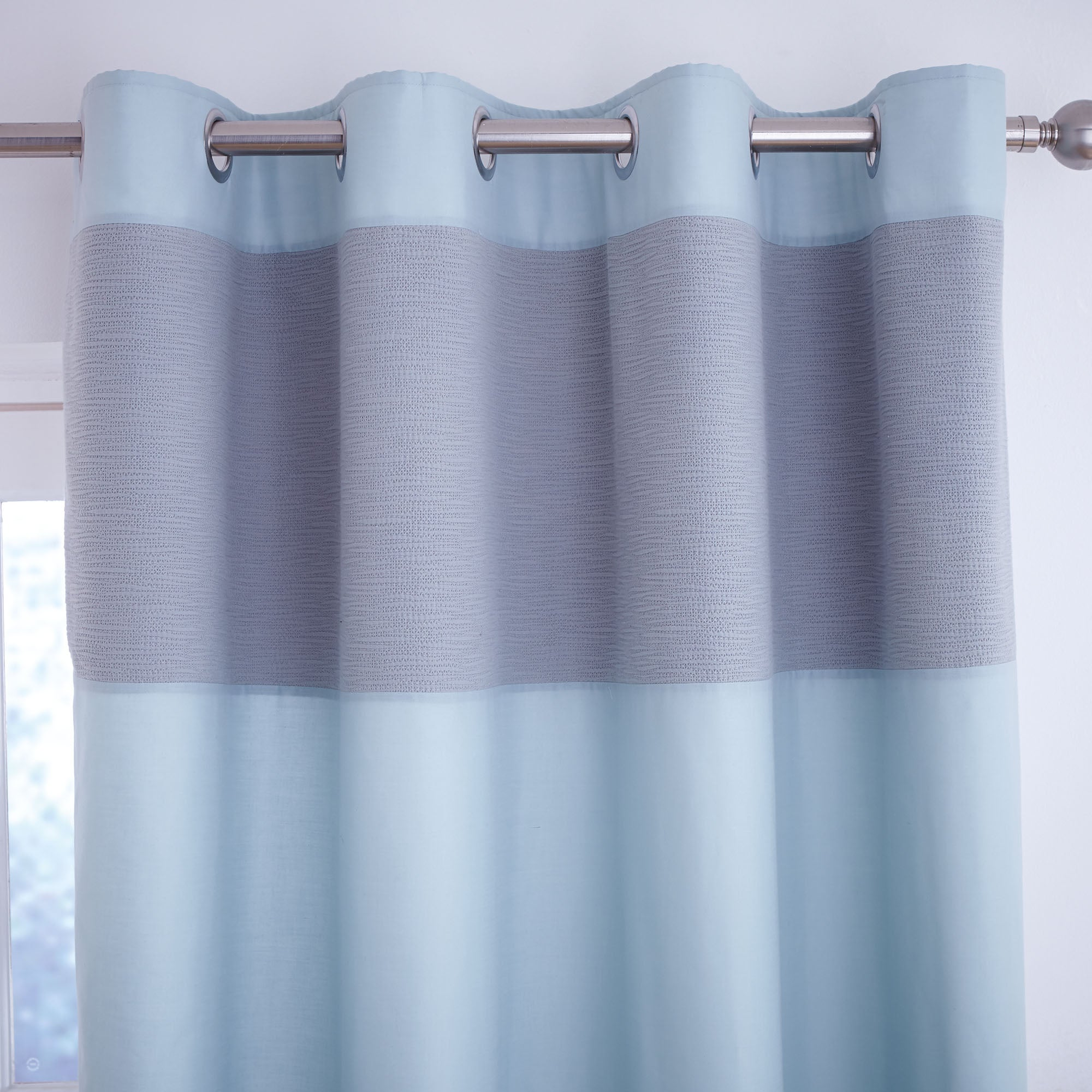 Photo of Vancouver teal thermal eyelet curtains teal