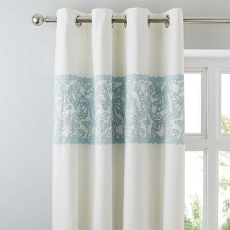 Evie Butterfly Duck Egg Thermal Eyelet Curtains