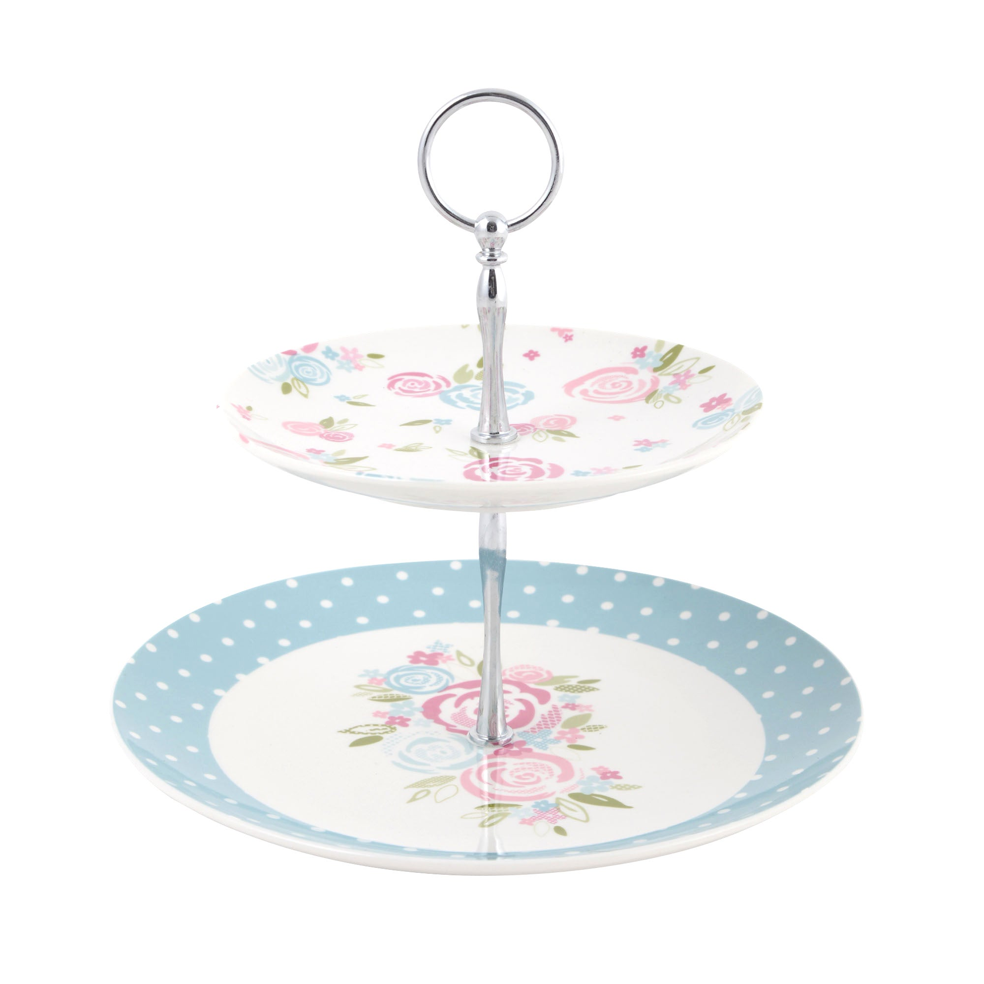 Image of Candy Rose Two Tier Cake Stand Blue / Pink
