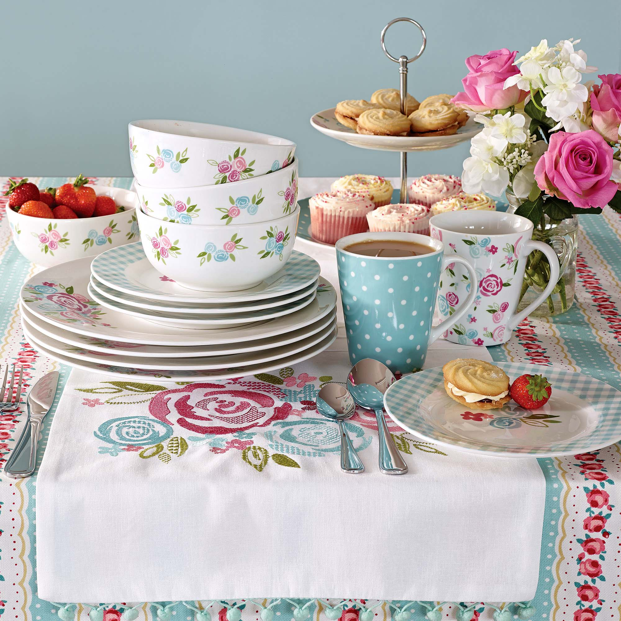 Image of Candy Rose 12 Piece Dinner Set White