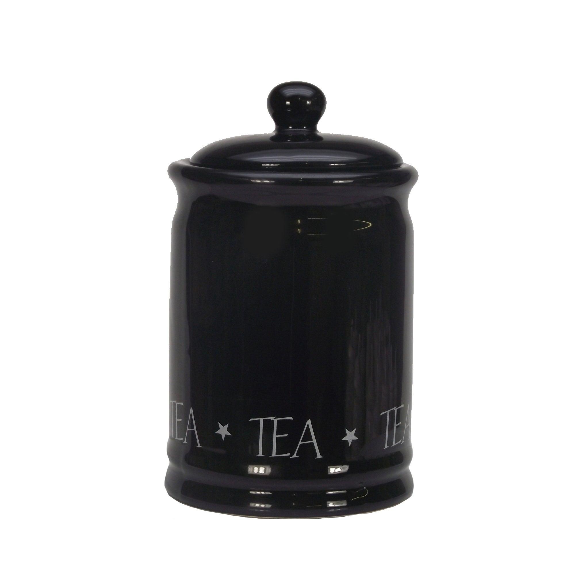 Vintage Black Text Tea Canister Black