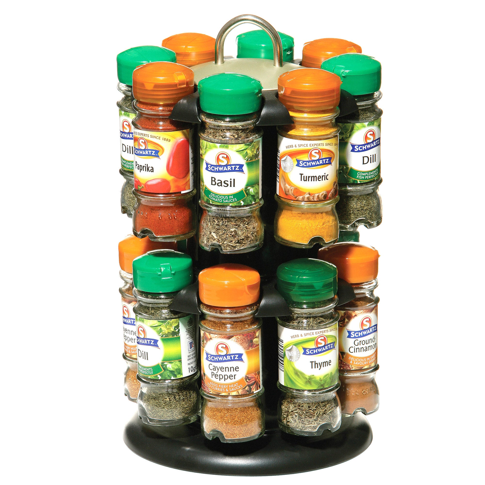 Schwartz 2 Tier Revolving 16 Spice Rack Orange  Green