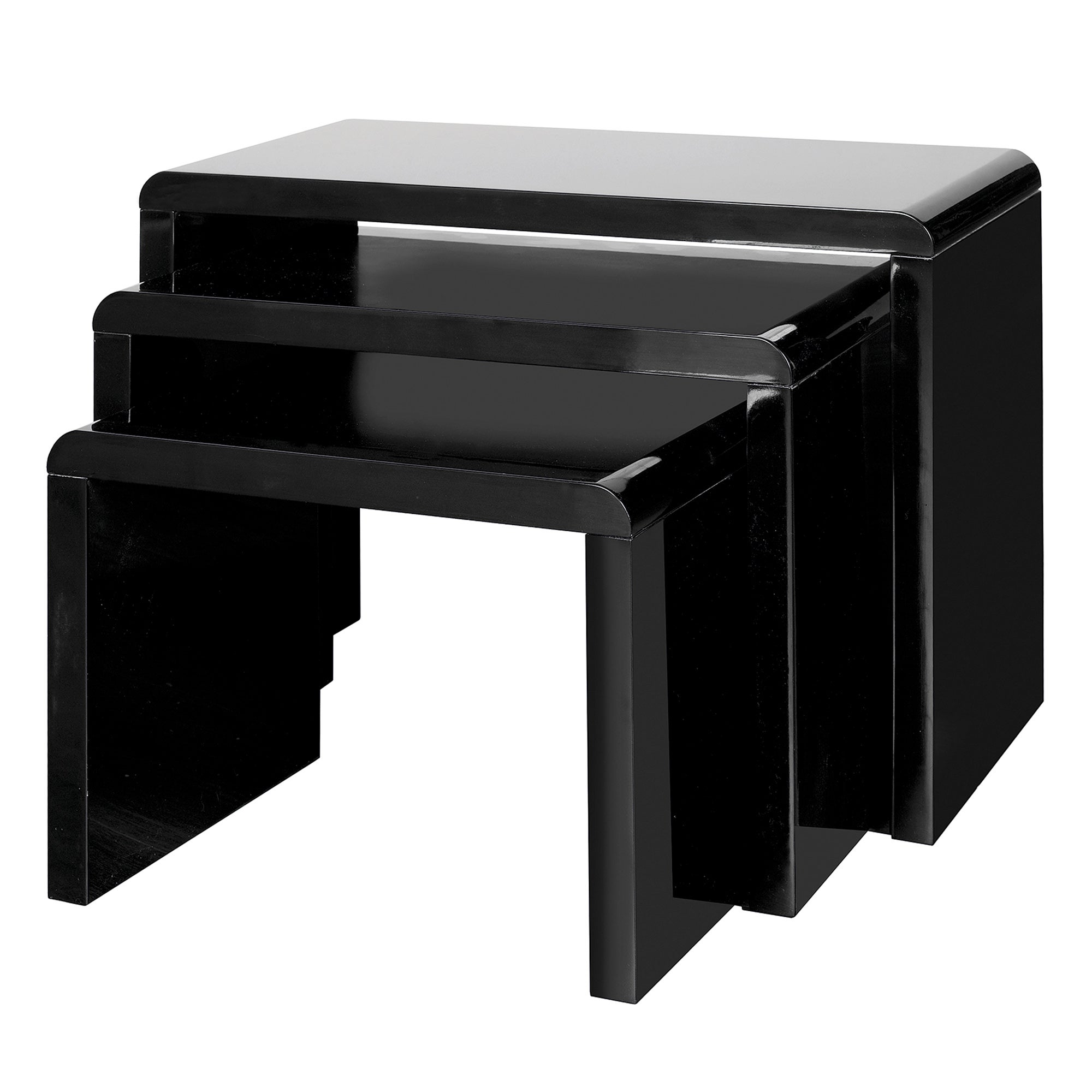 Soho Black Gloss Nest of Tables Black