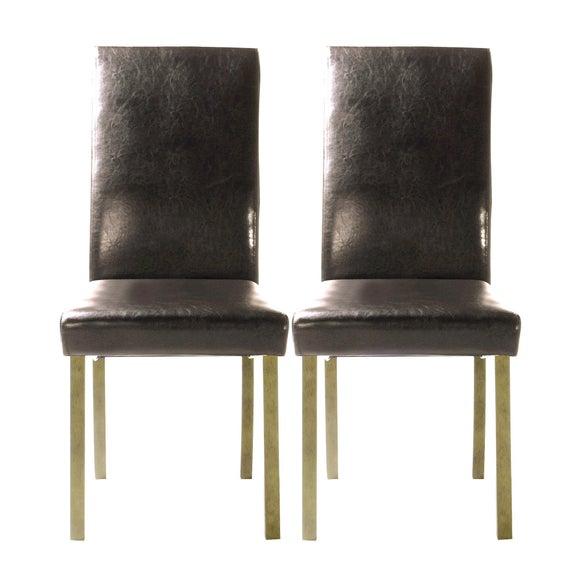 Hunston Brown Faux Leather Pair of Dining Chairs Dunelm